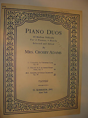 Andante Op 59  by Cecile Chaminade for 2 pianos 4 hands ed Mrs Crosby Adams 1926