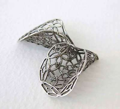Antiqued Silver Ox Filigree Bead Cap Calla Lily Flower Plated Cone 27mm