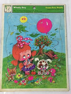 Vintage Whitman Tray Puzzle Windy Day 1973 Frame Toy Colorful