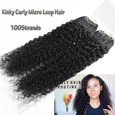 "20"" Curly 1g 8A* Russian Remy Double Drawn Loop Micro Ring Real Hair Extensions"