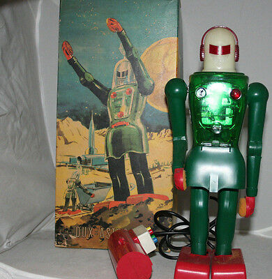 Vintage Battery Operated Robot Dux Astroman Made In West Germany In 1959S W/ Box