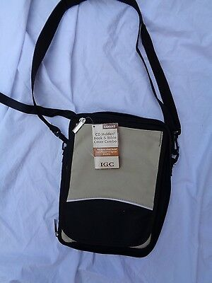 IGC Brown Canvas XL CD Bible Book Holder Shoulder Strap Cover NWT