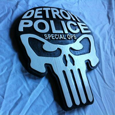 Police Detroit narcotics 3D routed punisher wood patch plaque Sign