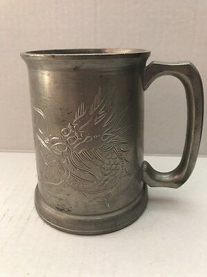 Vintage HUIKEE SWATOW Chinese Dragon Silver Metal Stein Glass Cup