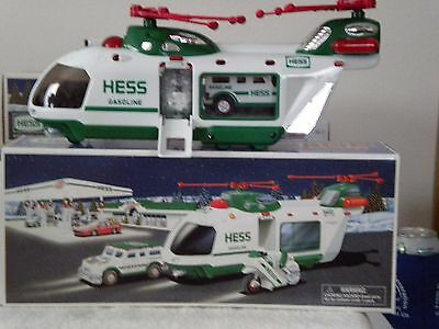 2001 Hess Toy Truck - Helicopter With Motorcycle And Cruiser
