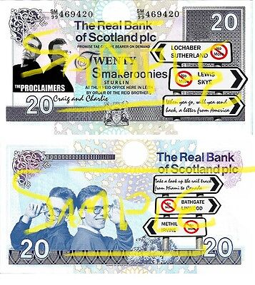 "Special Edition Novelty Scottish "" Proclaimers ""Smakeroonies Bank Notes"