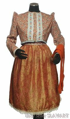 ANTIQUE Czech folk costume Chodsko vintage ethnic dress red jacket orange socks