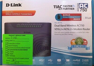 Repacked - DLink - DSL-2877AL - Dual Band Wireless AC750 Modem Router