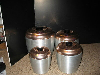 Vintage Copper Colored and Brushed Aluminum Canister Set Mid-Century VGUC