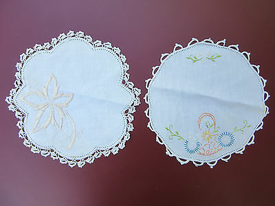 2 X Vintage Hand Embroidered Doilies with Crochet Edging