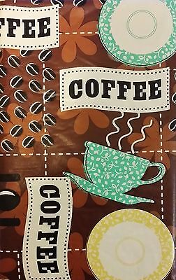 Coffee Beans, Cups and Saucers Vinyl Flannel Back Tablecloths-Various Sizes