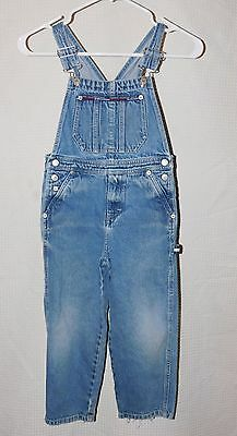 Vtg 90's Tommy Hilfiger Bib Overalls Jeans Flag sz 5 Kids Old School Denim
