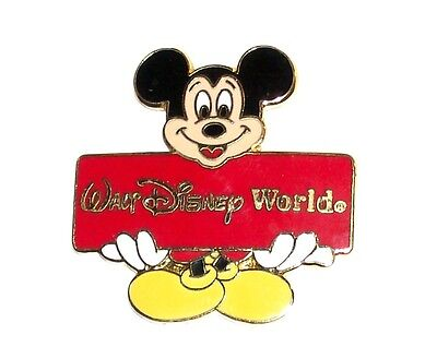 Walt Disney World Mickey Mouse Holding Sign Gold Tone Enamel Metal Pin Signed
