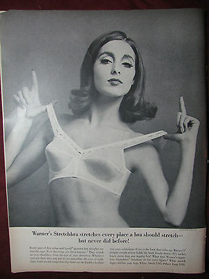 Original Vintage 1963 Warners Bra Print Ad stretch pinup girl photo art