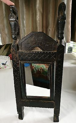 Antique collectable  India  1850s mirror with  hand carved wood frame