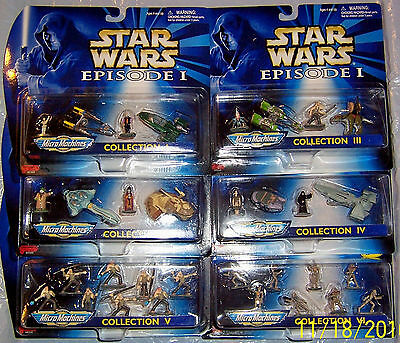 Star Wars Episode 1 MicroMachines Action Collection 1 2 3 4 5 6 Vehicles Figures