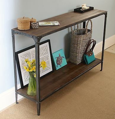 Console Hall Table Urban Vintage Industrial Rustic - Pewter