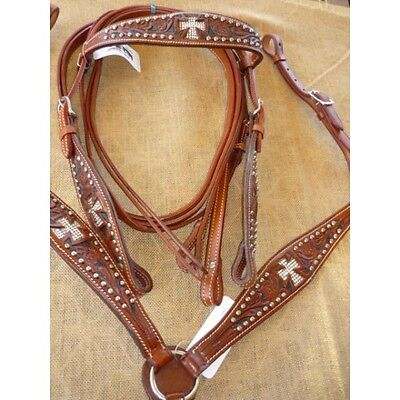 Western bridle breastplate split leather reins zebra natural free post