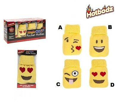 Hand Warmers Pocket Hotties Hot Re-usable Heat Pack with Knitted Emoji cover