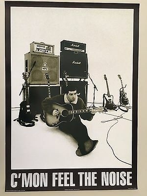 Oasis,'c'mon Feel The Noise' By Paul Slattery,rare Authentic 1996 Poster