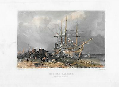 19th Century Colour Engraving of Rye Old Harbour