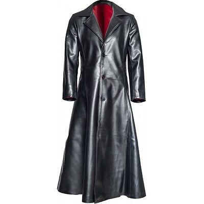 Gothic Long Coat Mens Steampunk Jacket PVC Leather Goth Blade Vampire Coat