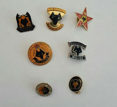 Wolverhampton Wanderers Rare   Enamel Badges  Wolves  7 Different Supporters