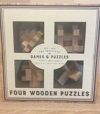 Professor Puzzle Set Of 4 Boxed Wooden Puzzles - New