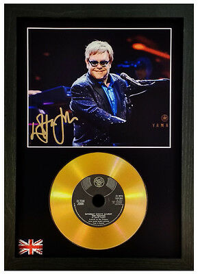 ELTON JOHN - SIGNED PHOTO WITH YOUR CHOICE OF GOLD DISC Candle in the wind etc..