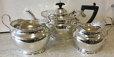 Hallmarked Silver Tea Set Presentation Antique Teapot Milk Jug Sugar Bowl