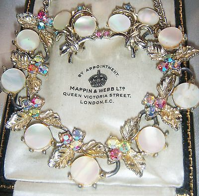 Vintage Necklace Earrings By Exquisite Mother Of Pearl Pastel Ab Rhinestones