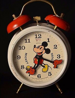 MICKEY MOUSE ALARM CLOCK BRADLEY DISNEY PRODUCTIONS Vintage Works Great