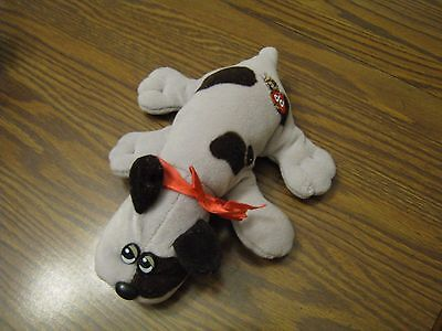 Vintage Pound Puppies GRAY SPOTTED Puppy Dog Stuffed Animal WITH RED BOW