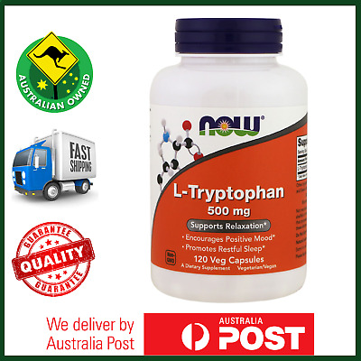 L-Tryptophan 500mg 120 Veg Caps by NOW Foods - Free Form Amino Acid - AUS STOCK