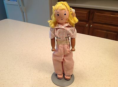 """Vintage Antique Schoenhut Wooden Clothespin Doll Unknown Girl Doll 9.5"""" tall"""