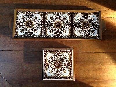 Set Of 2 Beautiful Vintage White & Brown Tile & Hand Carved Wood Trivet & Tray