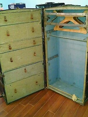 Vintage Antique Seward sewardobe Steamer Wardrobe Trunk Wooden Hangers 1916 1900