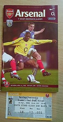 Arsenal v West Bromwich Albion programme and ticket, Premier League 2005/06