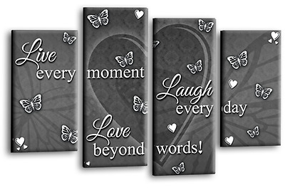 Love Quote Canvas Wall Art Picture Live Laugh Print Grey White Split Panel