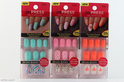 KISS imPRESS Gel Manicure Press On Nails 24 Color + 6 Accents *PICK YOUR DESIGN*