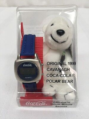 1999 CAVANAGH COCA COLA PLUSH POLAR BEAR and WATCH IN SEALED PACKAGING