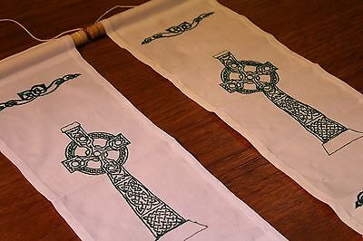 New! White or Cream Irish Celtic Cross Embroidered Hand Made Linen Wall Hanging