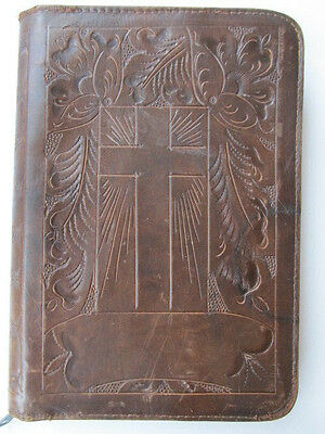 "Vintage Tooled Brown Leather Bible Cover, Zipper, Cross, 7"" x 10"""