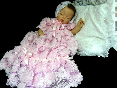 Baby Reborn Gown Mermaid/sleeper Day Gown  Pink Chiffon Roses Size 0-3