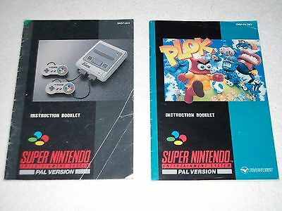 Super Nintendo Plok Manual And Super Console Manual Only