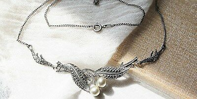 Art Deco Vintage Sterling Silver Grey Pearls & Marcasite Pendant Necklace