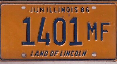 1986 Illinois  License Plate