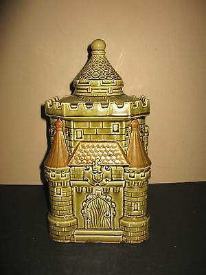 Vintage Royal Sealy Castle Cookie Treat Jar Olive/Brown Gallaher Castle