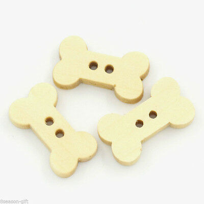 30 Dog Bone Wooden Buttons 19mm Scrapbooking Knitting Crafts Pets ASPCA Rescue
