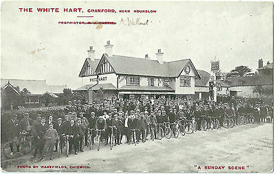 Cranford Middlesex. Cyclists At The White Hart Cranford. Printed Postcard